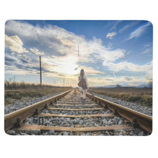 Girl With Guitar on Railroad Tracks Journal