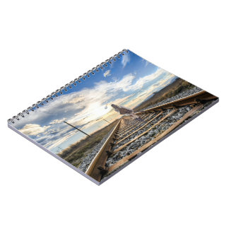 Girl With Guitar on Railroad Tracks Notebook