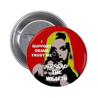 girl with gun spread the wealth 2 inch round button