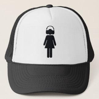 Girl with headphones trucker hat
