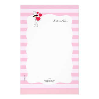 Girl with Hearts Motif - Stationery
