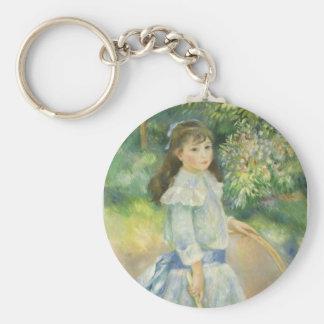 Girl with Hoop by Pierre Renoir, Vintage Fine Art Basic Round Button Keychain