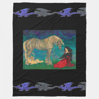 Girl with Horse and Raven Blue Black Dragons Fleece Blanket