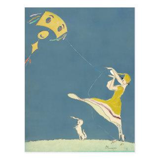 Girl With Kite And Dog Postcard