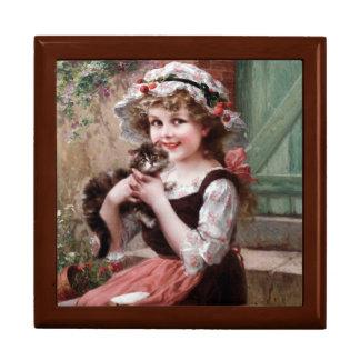 Girl With Kitten Golden Oak Gift Box