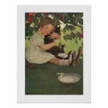 Girl with Kitten Posters