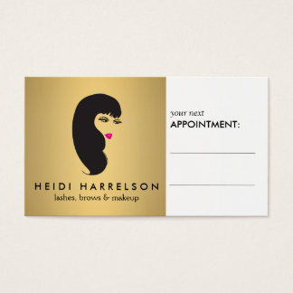 Girl with Lashes on Faux Gold Appointment Card