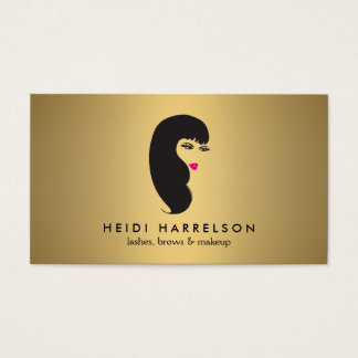 Girl with Lashes on Faux Gold Beauty Business Card