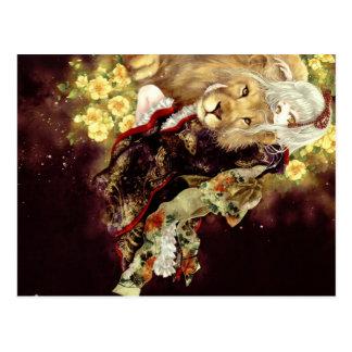 girl with lion anime postcard
