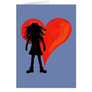 Girl with long curly hair and big heart card