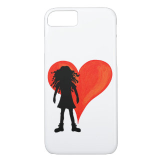 Girl with long curly hair and big heart iPhone 8/7 case