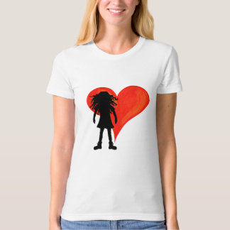 Girl with long curly hair and big heart T-Shirt