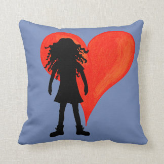 Girl with long curly hair and big heart throw pillow