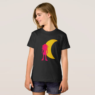 Girl with long curly hair and the moon T-Shirt