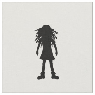 Girl with long curly hair fabric