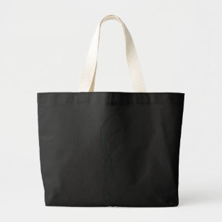 Girl with long hair light blue tote bag