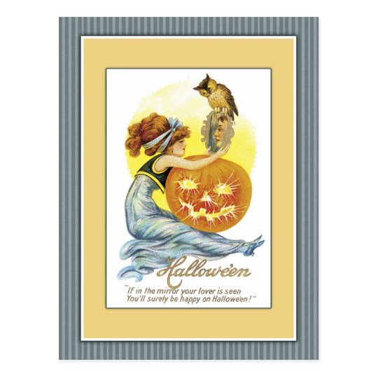 Girl with mirror, pumpkin and owl postcard