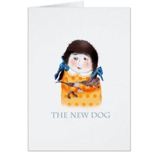 Girl with new dachshund dog card