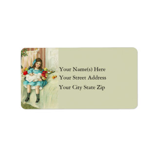 Girl With New Doll Vintage Address Label