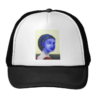Girl with no face (surreal realism) trucker hat