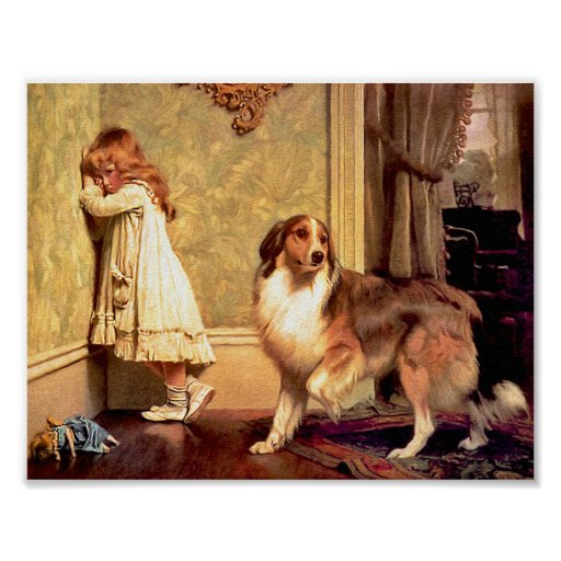 "Girl with Pet Sheltie: ""A Special Pleader"" Print"