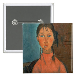 Girl with Pigtails, c.1918 (oil on canvas) 2 Inch Square Button