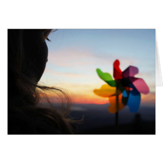 Girl with Pinwheel Card