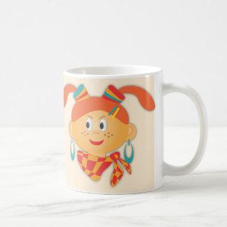 Girl with ponytails coffee mug