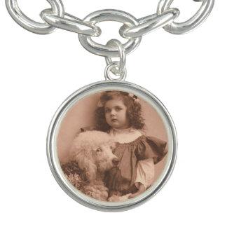 Girl with poodle. Photo charm bracelet