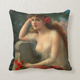 Girl With Poppies Accent Pillow