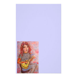 girl with red hair and ukulele stationery