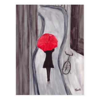 Girl with red umbrella painting postcard
