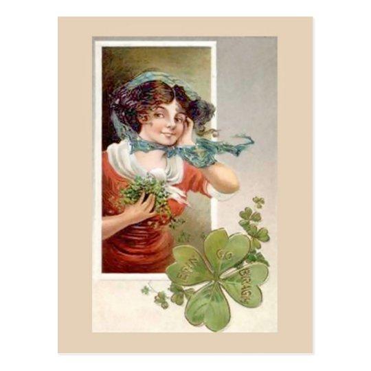 Girl with Shemrock | Unique vintage illustration Postcard