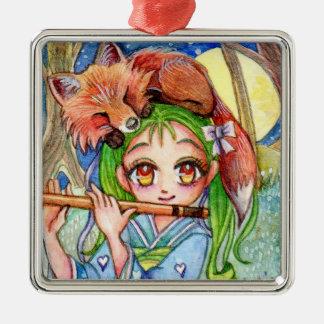 Girl with Sleepy Fox Metal Ornament
