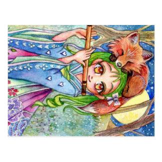 Girl with Sleepy Fox Postcard
