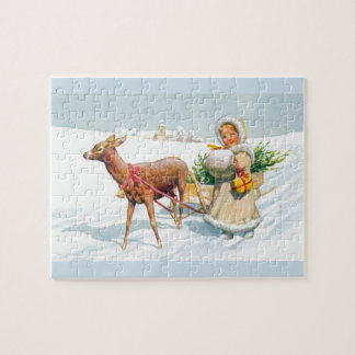 Girl with sleigh jigsaw puzzle