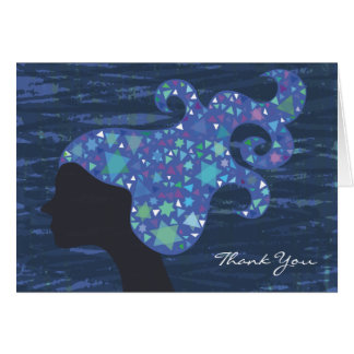 Girl with Stars in her Hair Bat Mitzvah Thank You Card