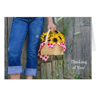 Girl with sunflower basket card
