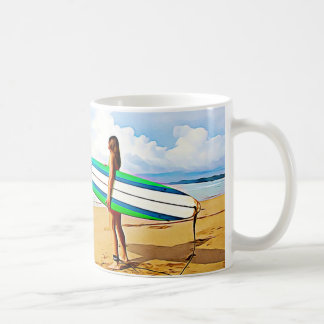 Girl with Surfboard on the Beach Coffee Mug
