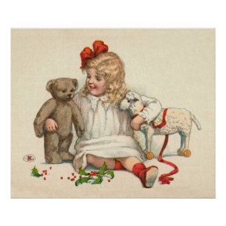 Girl with Teddy and Lamb Poster