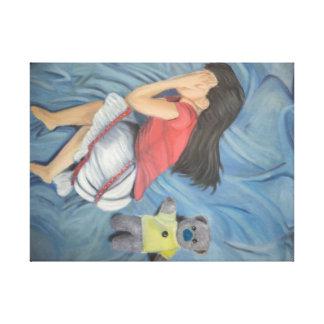 girl with teddy bear canvas print