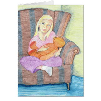 Girl with Teddy Bear Thinking of You Greeting Card