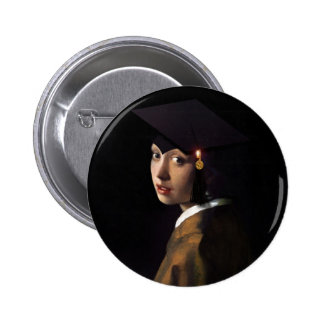 Girl with the Graduation Hat (Pearl Earring) 2 Inch Round Button