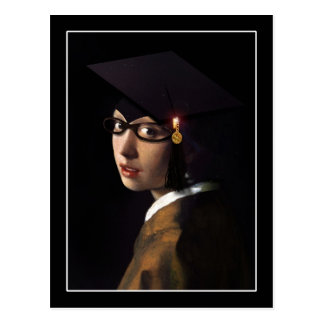 Girl with the Graduation Hat (Pearl Earring) Postcard