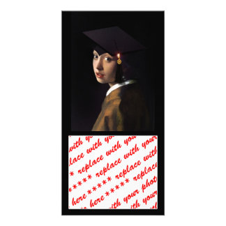 Girl with the Graduation Hat Photo Card Template