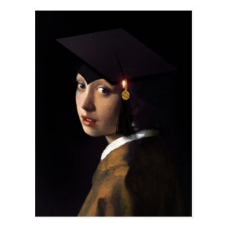Girl with the Graduation Hat Postcard