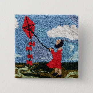 Girl With the Red Kite 2 Inch Square Button