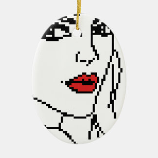 Girl with the red lips ceramic oval ornament