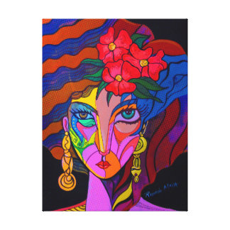 Girl with three flowers canvas print