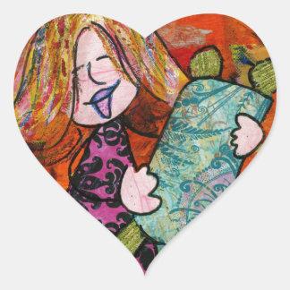 Girl with Torah Heart Sticker